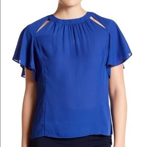Laundry by Shelli Segal Blue Flutter Blouse